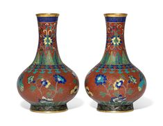 105⁄8 in. (27 cm.) high Special Characters, Clay Pots, 19th Century, Auction, Enamel, Vase, Red, Vitreous Enamel, Enamels