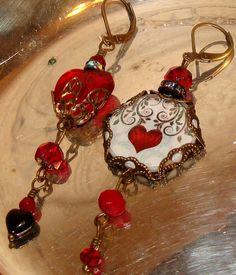 Ruby Red Heart image bead charm diy jewelry by imagebeadjewelry,