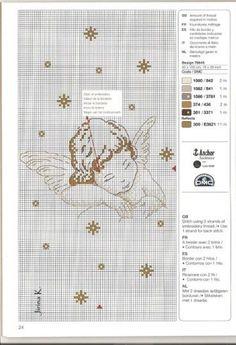 0 0 point de croix grille et couleurs de fils petit ange, angel