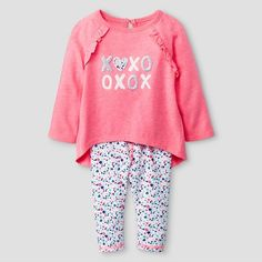 Baby Girls' 2 Piece Ruffle Back Tunic with Cuffed Jersey Legging Set Baby Cat & Jack™ - Coral : Target
