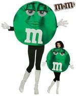 Deluxe Adult M&M Costumes Green M&M. green lady m&m brand candy costume includes: gloves and character tunic. tunic can be worn with head inside or