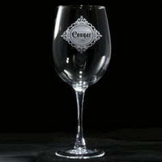 engraved cougar humorous wine glass  at Crystal Imagery.