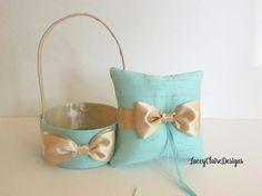 Wedding Ring Bearer Pillow and Flower Girl Basket Handmade