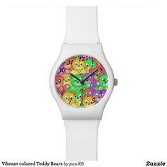 Vibrant colored Teddy Bears Wrist Watch