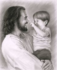 Jesus Christ says we must become like little children to enter His Kingdom. This drawing is so precious. Love seems to radiate from the picture. - I hope you know and love Jesus this way all your life little Judah! Arte Lds, Images Bible, Image Jesus, Pictures Of Christ, Lds Pictures, Images Instagram, Jesus Christus, Lds Art, Jesus Art