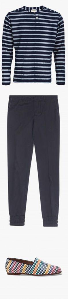 Chemise marinière deux poches - OLIVER SPENCER, Pantalon chevilles élastiquées - WOOYOUNGMI, Mocassins tissés Pantome - SOLOVIERE #LeBonMarche #men #hommes #trend #silencelesmouettes #pe2016 #ss2016