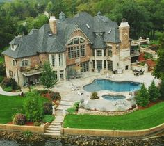 ~ Yvonne Amazing_Lake_Home_Mansion_Beautiful_Villa_Pool_Castle_Backyard Future House, My House, Big Houses, Dream Houses, Foyers, House Goals, Dream Decor, Palaces, My Dream Home