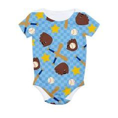 #Baseball - Blue Background All Over Print Bodysuit -- To see more designs from this person, go to http://www.cafepress.com/nature_tees