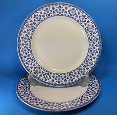 "Johnson Brothers Portland 2 Dinner Plates 10¼"" Blue white Flowers England  #JohnsonBrothers"