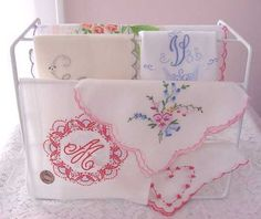 Vintage Handkerchiefs, embroidered or printed, trimmed with lace, I love them all. Obviously anything monogrammed with a C would be the tops! But I'm not picky... ;)