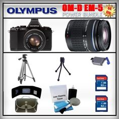 Olympus OM-D E-M5 Black 16MP Digital Camera - Olympus 14-42mm Lens - Olympus 40-150mm Lens - 2x 32GB SDHC Memory Card - USB Memory Card Reader - Memory Card Wallet - Carrying Case - Lens Cleaning Kit - Full Size and Mini Tripods by Olympus. $1239.99. Olympus OM-D E-M5  The OM-D's new electronic viewfinder (EVF), with 120 fps refresh rate, features a high-resolution 1.44-million dot LCD, 100% field-of-view coverage, and 1.15x maximum magnification that let you totally imme...