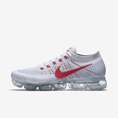 Nike Air VaporMax 2018 Flyknit White Gray Red Tick (36-45) Running Shoes Nike, Nike Basketball Shoes, Nike Flyknit, Sneakers Nike, Cheap Nike, Nike Shoes Cheap, Runway Fashion, Fashion Tips, Fashion Wear