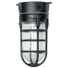 Designers Edge Industrial 1-Light Hammered Black Outdoor Weather Tight Flushmount Light Fixture