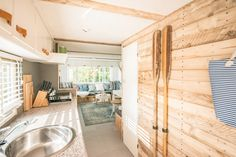 A look at the inside / interior of our beach lodge near the Sea. An old renovated static caravan.