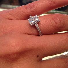 Emerald cut diamond ring Bezel Diamond Rings, Emerald Cut Diamonds, Bridal Sets, Wedding Inspiration, Wedding Ideas, Sparkle, Bling, Wedding Rings, Jewels