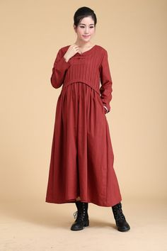 Spring dress Loose fitting Long Sleeve Sundress Maxi Dresss(more colour and size choice)
