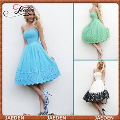 HE140 Strapless A-line Lace Appliques Tulle Off-Shoulder Blue Short Evening Dress Gown 2014 $107.99