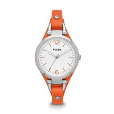Fossil Georgia Three Hand Leather Watch - Orange- I would also be ok with the pink one!! :)