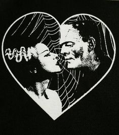FRANKENSTEIN and BRIDE BACKPATCH horror heart goth punk | Etsy