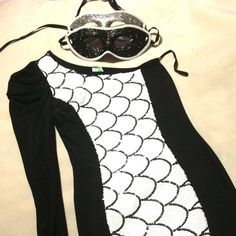 The Perfect Party Dress NWT! Pure stretch black and white sequined one shoulder mini dress!  Dresses Mini