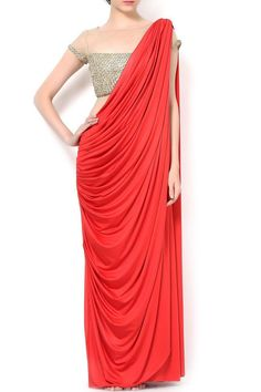 If you don't know how to drape a saree, try a pre-draped one... or a saree gown.