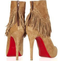 christian louboutin fringe ankle boots
