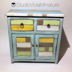 """Buffet with different varieties of """"recycled"""" wood 1/12 scale Miniature"""