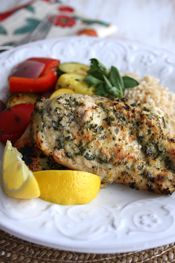Lemon Garlic Herb Crusted Chicken: combine any leftover fresh herbs, the juice of one lemon, some minced garlic and OO and marinate. Also used for kabobs, too.