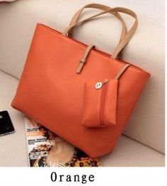 Promotion! HOT! vintage simple PU leather bag handbag Candy1 orange