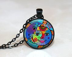 GlassTile Necklace Sun and Moon Necklace Glass Tile Jewelry Celestial Jewelry Sun Jewelry Moon Jewelry Sun and Moon Necklace Black Jewelry