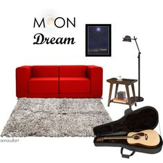 Moon Dream is the first set I created on Polyvore. I challenged myself to put together the perfect living room to feature my painting 'Moon Over the City'. Why the guitar on the floor? Because there's always a guitar on the floor at our house.
