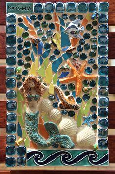 # 121 THE LITTLE MERMAID - Cracked tile and Ceramics 30cm x 60cm - Private Commission - Signature Piece