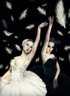 Swan Lake- Odette the White Swan and Odile the Black Swan Black Swan Movie, Lake Art, White Swan, Swan Lake, Future Tattoos, Actors & Actresses, Black And White, The Black Swan, Photoshoot