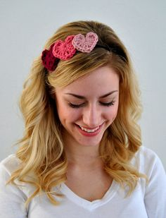 Ladies Pink Crochet Valentine Heart Headband.