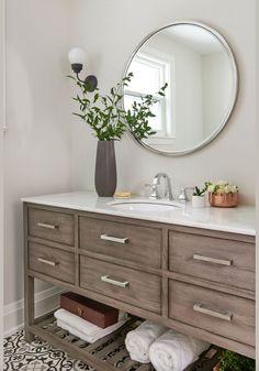 Cabinets, cement tile floor