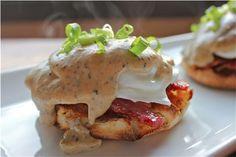 Sunday Brunch Idea: Gravy Eggs Benedict with Bacon
