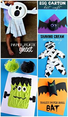 Fun and easy Halloween crafts for kids to make! (Frankenstein, pumpkins, bats, ghosts, mummies, and more!)