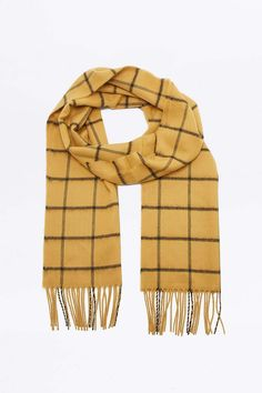 Top Fashion Gifts for Men - A classic scarf to keep you warm in style Checked Scarf, Mixed Fiber, How To Wear Scarves, Urban Outfitters, Your Style, Pattern, Men's Accessories, Awesome Stuff, Mustard