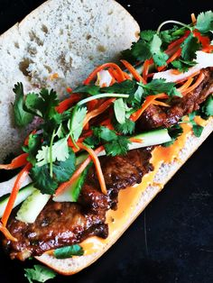 Seared Pork Bahn Mi - Plum Street Collective The Bahn Mi is pretty much the perfect sandwich when done correctly A really well seasoned meat thick chewy baguette fresh herbs and veggies that bite of pickled veggies and a creamy but spicy sriracha mayo YUM Sandwich Recipes, Pork Recipes, Asian Recipes, Cooking Recipes, Healthy Recipes, Sushi Recipes, Cooking Food, Good Food, Yummy Food
