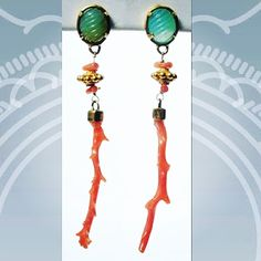 Carved Peruvian Opal, 18 karat gold and pink branch coral earrings. Very fabulous! Coral Earrings, Coral Jewelry, Dangle Earrings, Peruvian Opal, Coral Turquoise, Handcrafted Jewelry, Carving, Jewels, Gold