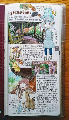 京都旅行② 実はとっても頑張って描いたページ。建築物を描くのは難しくて楽しいです。