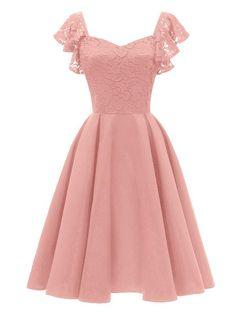 LaceShe Women s Elegant Cocktail A-line Lace Dress 74909e4e82e0