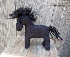 Felt horse felt pony small stuffed horse black horse  farm