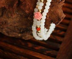 White pearl shell bead mala bracelet with Tropical beach pink flowers | shangrilacraft - Jewelry on ArtFire