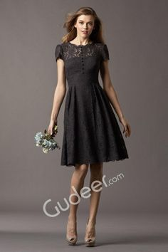 Cheap Modest Black Lace Short Sleeve Crew Neck Knee Length A-line Bridesmaid Dress is on Sale! Buy Modest Black Lace Short Sleeve Crew Neck Knee Length A-line Bridesmaid Dress at BridesmaidWire Now.