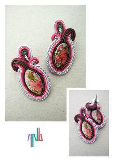 Handmade ANU Jewelry Soutache Earrings Green Pink Flower