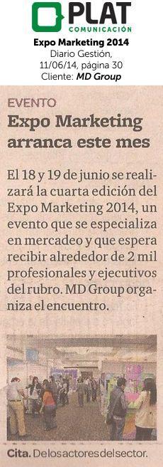 MD Group: Realización de Expo Marketing 2014 en el diario Gestión de Perú (11/06/14)