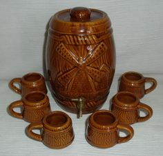 Barrel Shotglasses Decanter Set 7 Pcs Ceramic Vtg Windmill Brown Jug Tiki Bar