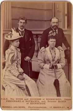 Princess Marie of Edinburgh with her fiancée Ferdinand and her parents Alfred and Marie, the Duke and Duchess of Edinburgh Victoria Reign, Queen Victoria, Royal Family Trees, English Royal Family, Princess Alexandra, Casa Real, Princess Victoria, Queen Mary, Black And White Portraits