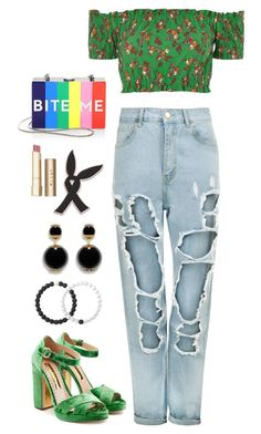 """""""Bite me"""" by vaniaoliveira97 ❤ liked on Polyvore featuring Milly, Rupert Sanderson, WearAll, Topshop, Lokai and Stila"""